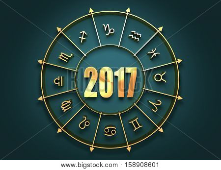 Astrological symbols in the circle. Golden emblem. Metallic material. 2017 numbers. 3d rendering