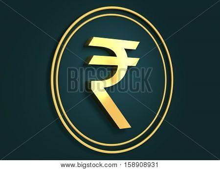 Golden Indian Rupee symbols on dark backdrop. 3D rendering