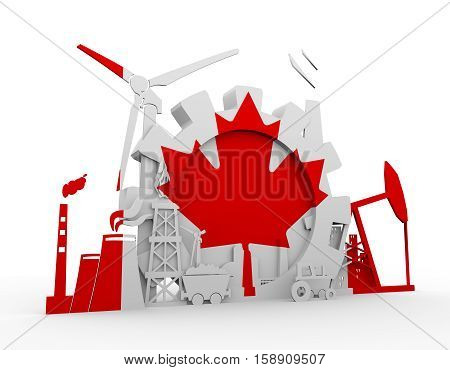 Energy and Power icons set with Canada flag. Sustainable energy generation and heavy industry. 3D rendering.