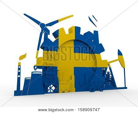 Energy and Power icons set with Sweden flag. Sustainable energy generation and heavy industry. 3D rendering.
