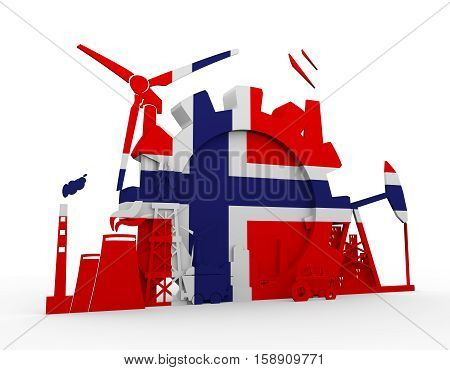 Energy and Power icons set with Norway flag. Sustainable energy generation and heavy industry. 3D rendering.