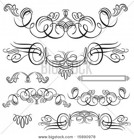 Set of vector decorative ornaments. Easy to edit. Perfect for invitations or announcements.