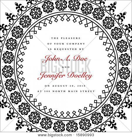 Vector ornate circule frame. Easy to edit. Perfect for invitations or announcements.