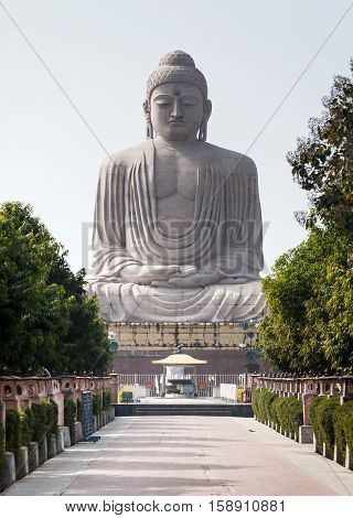 The tiny chipmunk has run out on a path in front of The Giant Buddha Statue in Bodhgaya Bihar India. The statue is 25 m or 82 ft high in meditation pose or dhyana mudra seated on a lotus in open air. Located near Mahabodhi Temple.