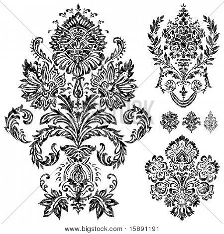 Set of vector damask ornaments. Easy to edit. Perfect for invitations or announcements.