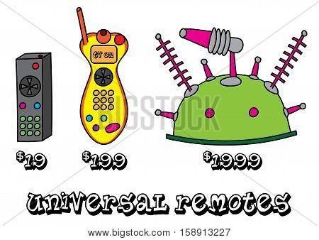 funny universal remote product range vector illustration