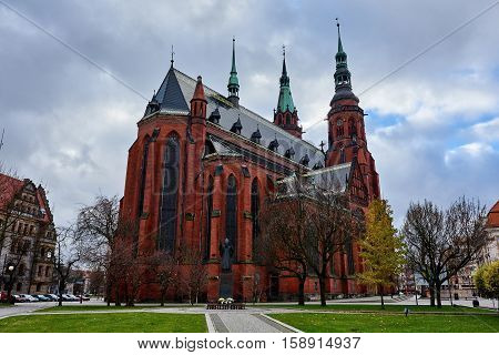 Legnica, Poland: November 27, 2016: Exterior of a Saint Peter and Saint Paul Cathedral in Legnica city. Poland