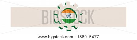 3D cog wheel with India flag. Precision machinery relative backdrop. Vector illustration for web banner or header