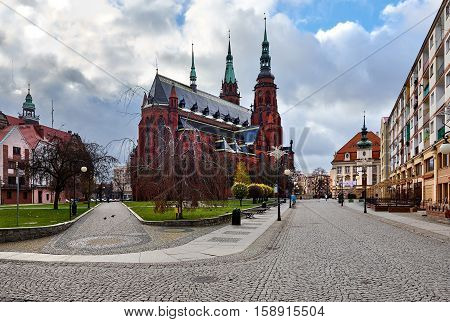 Legnica, Poland: November 27 2016: Exterior of a Saint Peter and Saint Paul Cathedral in Legnica city. Poland