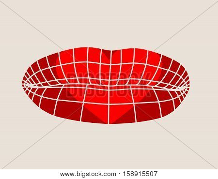 Wire frame polygonal female lips. Simple illustration for printing on T-shirt. Vector illustration of a woman lips symbol. Human lips design. Heart shape print on lips