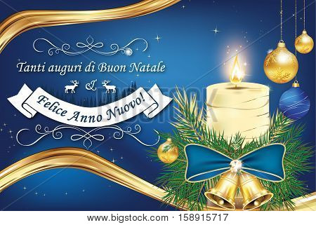 Italian greeting card for winter holiday (Merry Christmas and Happy New Year - Tanti auguri di Buon Natale & felice Anno Nuovo). Print colors used. Size of a custom printable card.