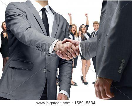 Business handshake and happy energetic business people