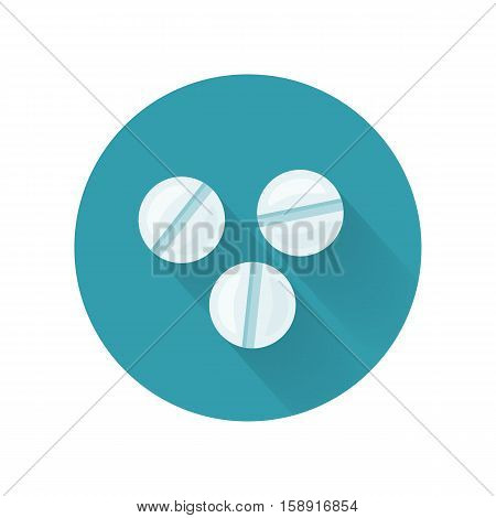 Pills vector illustration in flat style design. Variety types of drugs, dragees, gelatin capsules, pill. Antibiotic, analgesic, antidepressant. Pharmaceuticals goods. Isolated on white background.