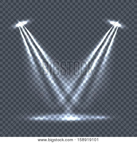 Illumination with bright light effects on transparent plaid background. Lighting with spotlights. Scene stage disco spotlight lights. Projectors light sources. Glowing glitter. Bright sparkle. Vector