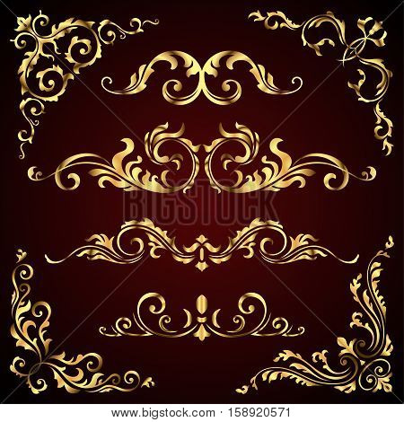 Victorian vector set of golden ornate page decor elements like banners, frames, dividers, ornaments and patterns on dark background. Gold calligraphic swirl elements