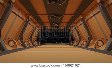 Futuristic Interior Corridor Stage.3D Rendering