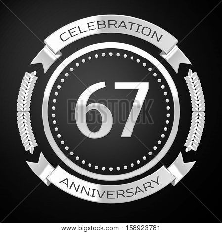 Sixty seven years anniversary celebration with silver ring and ribbon on black background. Vector illustration