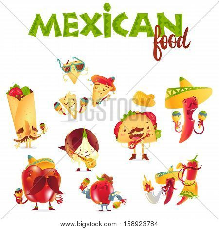Set of happy Mexican food characters playing musical instruments, cartoon vector illustration isolated on white background. Mexican food characters, mascots in traditional clothes playing music