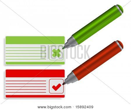 card with pen and check box