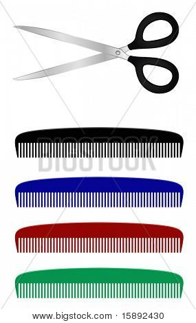 metal scissors and plastic comb