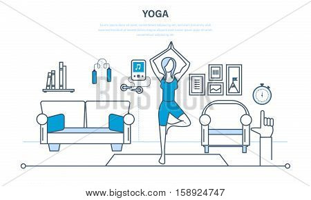 Interior of the room, furniture for relaxing, quiet atmosphere. Girl at home, standing in a pose on the carpet, practices yoga. Healthy lifestyle. Illustration thin line design of vector doodles
