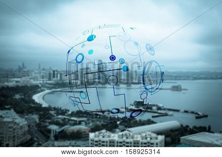 Abstract molecular structure against beautiful city and seafront background