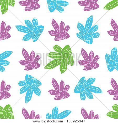 Cosmic crystals pattern green blue and purple color w on light background
