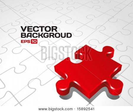 Vector puzzle with 3d pie vector background. Eps 10.