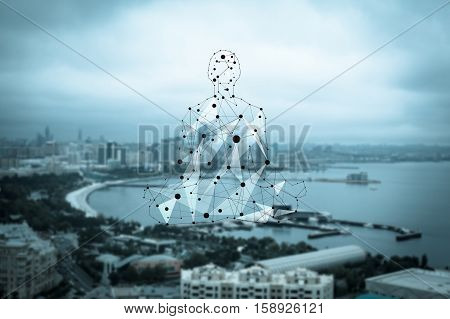 Man figure consisted of dots and lines, sitting in lotas pose on the city and seafront background