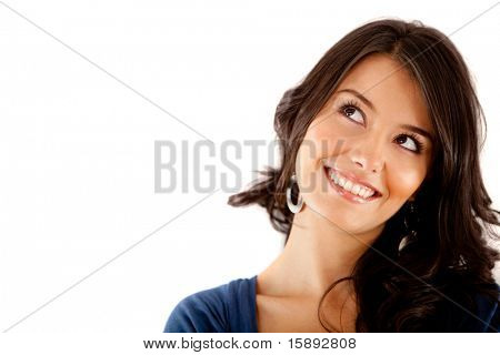 Beautiful thoughtful woman looking up - isolated over white