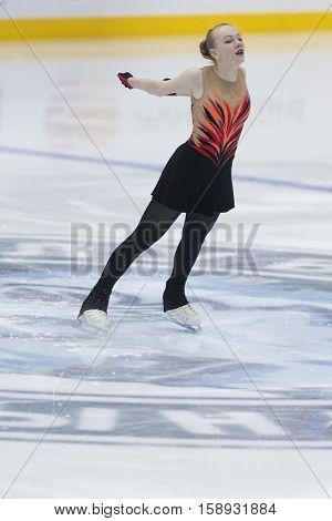 Minsk Belarus -November 19 2016: Unidentified Female Figure Skater performs Ladies Free Skating Program at Ice Star International Figure Skating competition in November 19 2016 in Minsk Belarus