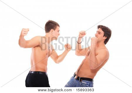 Two shirtless men fighting over white background