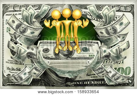 The Original 3D Characters Illustration With A Stack Of Money