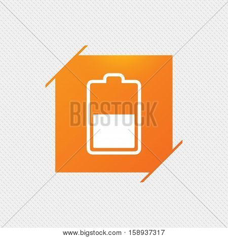 Battery half level sign icon. Low electricity symbol. Orange square label on pattern. Vector