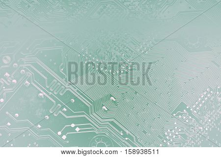 Circuit Board Or Motherboard Toned Into Light Transparent Silhouettes In Blue Colors. Tech Science B