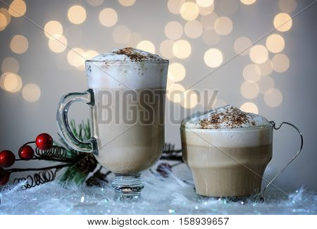 glass cups with cappuccino and cocoa