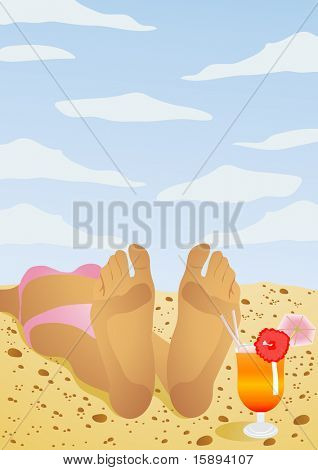 Vector illustration of a girl lying on the beach and sunbathing