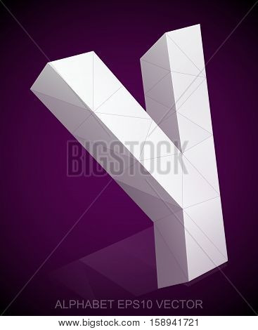 Abstract White 3D polygonal lowercase letter Y with reflection. Low poly alphabet collection. EPS 10 vector illustration.