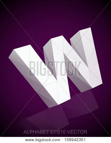 Abstract White 3D polygonal lowercase letter W with reflection. Low poly alphabet collection. EPS 10 vector illustration.