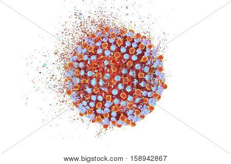 Destruction of hepatitis C virus, 3D illustration. Conceptual image for hepatitis C treatment