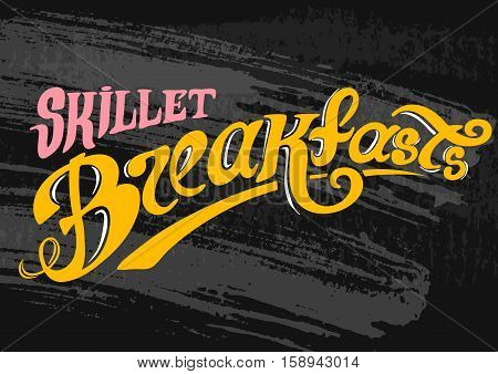 Breakfast Poster. Fried eggs and sausage on pan. Vector illustration. Breakfast always fresh.