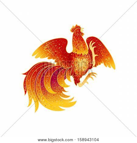 2017, the Year of the Fire Rooster in Chinese Horoscope. Red and gold colors, symbol of new year. Fire element. Hand drawn sketchy cartoon clip-art, illustration, isolated on white