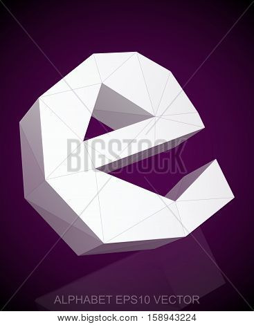 Abstract White 3D polygonal lowercase letter E with reflection. Low poly alphabet collection. EPS 10 vector illustration.