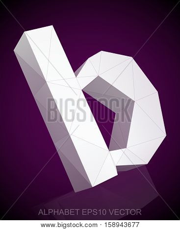 Abstract White 3D polygonal lowercase letter B with reflection. Low poly alphabet collection. EPS 10 vector illustration.