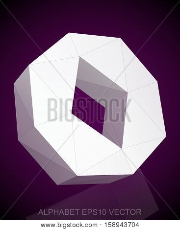 Abstract White 3D polygonal lowercase letter O with reflection. Low poly alphabet collection. EPS 10 vector illustration.
