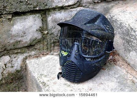 still life shoot of paintball mask protection