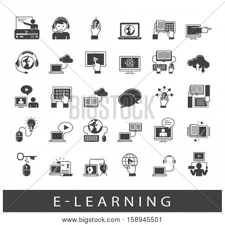 Collection of e-learning icons. Icons of distance learning, cloud computing, online learning and e book.