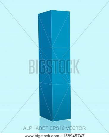 Abstract Blue 3D polygonal lowercase letter L with reflection. Low poly alphabet collection. EPS 10 vector illustration.
