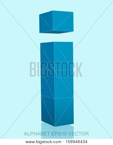 Abstract Blue 3D polygonal lowercase letter I with reflection. Low poly alphabet collection. EPS 10 vector illustration.