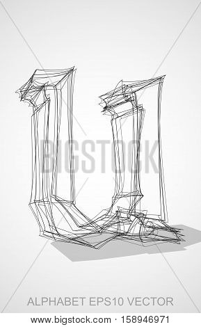 Abstract illustration of a Ink sketched lowercase letter U with Transparent Shadow. Hand drawn 3D U for your design. EPS 10 vector illustration.
